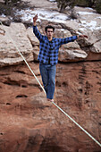 Jan Galek walks a highline with no safety leash at the 2010 Thanksgiving Moab Highlining Rendezvous for Extreme Slackliners