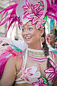 A dancer takes part in the parade during the Copenhagen latin carnival in Denmark. The Whitsun Carnival of Copenhagen is a very popular annual festival, drawing over 100,000 spectators a year. The highlight of the carnival are the two parades, but also no
