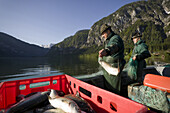 Fishermen collect fish from their nets on the Hallstatter See in the Salzkammergut region, Austria. The Salzkammergut region is a popular tourist destination in Austria.