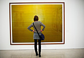 A woman looks at an Andreas Gursky photographic print at the Museum of Modern Art in Vienna,  Austria.