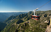 A red cable car is one the main attractions of the new Copper Canyon Adventure Park in Chihuahua,  Mexico.