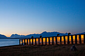 PUERTO NATALES, PATAGONIA, CHILE. A fancy hotel at dusk. Remota, the hotel, is one of the nicest in the area boasting some of the most unique architecture in all of Chile.