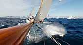 'On board Altair during ''Les voiles de saint Tropez'', France.  Commissioned in 1929 by Captain Guy H MacCaw whose brief to William Fife was simply: 'build a sound, safe cruiser, safe to go to the south seas islands in with no anxiety'. Fife was then 73