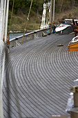 Early morning, tidy teak deck of sailboat, before departing to race in the Antigua Classic Regatta, 2006.  Alison Langley / Aurora
