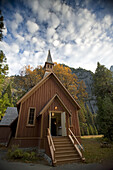YOSEMITE NATIONAL PARK, CA - NOVEMBER 4, 2006: Yosemite chapel located in Yosemite Valley. photo by Ian Shive/Aurora