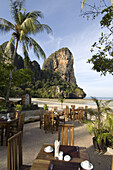 Views of the Thaiwant Wall, a famous climbing destination in Railay, from the restaurant of the Railay Bay Resort and Spa, a newly remodeled resort catering to the wealthier crowd.
