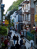 'Along the famed tourist attraction Rue du Petit Champlain in Lower Old Town in Old Quebec; a World Heritage Site in Quebec; Canada.'
