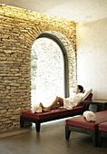 Relaxing at Vinotherapie Spa at Relais San Maurizio in the Asti Zone, in Santo Stefano Belbo, Piedmont, Italy.  model release code: Bruso_Paola.jpg and property release code: Relais_San_Maurizio_PropertyRelease.jpg