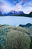Storm clouds passing over Lago Pehoe and the Cuernos Del Paine on March 1, 2008 in Las Torres Del Paine National Park, Chile.