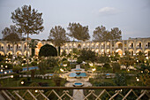 The view on a garden in hotel Abassi, Isfahan, Iran.