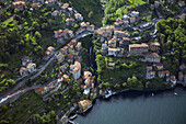 Aerial view of a picturesque village on Lake Como, Italy.