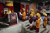 Sang Sang Rimpoche initiates Mani Rimdu festival at Chiwang Monastery.Solu Khumbu, Nepal.