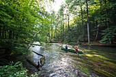 Exploring the river Wuerm in a Tandem kayak, near Munich, Bavaria, Germany