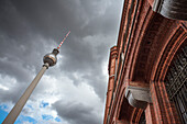 Television Tower and Red Town Hall, Rotes Rathaus, on Alexanderplatz Square, Berlin, Germany