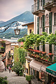 Narrow streets in the old town of Bellagio, Lake Como, Lombardy, Italy, Europe