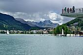 Observation deck above Lake St. Moritz, St. Moritz, Upper Engadin, Kanton of Graubuenden, Switzerland