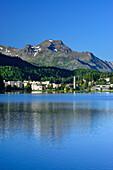 View over Lake St. Moritz to Piz la Margna, St. Moritz, Upper Engadin, Kanton of Graubuenden, Switzerland