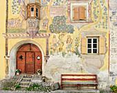 Engadin house Adam-und-Eva-Haus, Ardez, Lower Engadin, Canton of Graubuenden, Switzerland