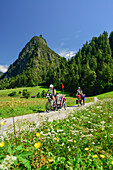 Two cyclists with child trailer riding along Inn cycle route, ruin Kronburg in background, Zams, Tyrol, Austria