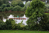 Rowing boat on the Main river, Aschaffenburg, Franconia, Bavaria, Germany