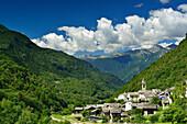 Village of Castasegna, Castasegna, Bergell range, Upper Engadin, Engadin, Grisons, Switzerland