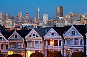 Victorian houses (Painted Ladies) and Financial District,  Alamo Square, San Francisco, California, United States of America, North America