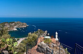 A terrace looking out over Isola Bella, Taormina, Sicily, Italy, Mediterranean, Europe