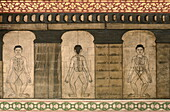 Detail of murals dating from the early 19th century showing massage pressure points and meridians, Wat Pho (Wat Phra Chetuphon), Bangkok, Thailand, Southeast Asia, Asia