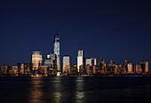 Manhattan financial district skyline as seen from Jersey City, New York, United States of America, North America