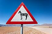 Zebra crossing animal warning sign, Namib Desert, Namibia, Africa