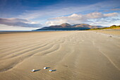 Deserted beach at Dundrum Bay, with the Mountains of Mourne in the background, County Down, Northern Ireland, United Kingdom, Europe