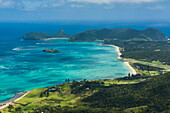 View from Mount Lidgbird over Lord Howe Island, UNESCO World Heritage Site, Australia, Tasman Sea, Pacific
