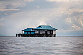 A house over the ocean, Togian Islands, Sulawesi, Indonesia, Southeast Asia, Asia