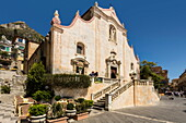 San Giuseppe Church and Piazza 9 April on Corso Umberto in this popular northeast tourist town, Taormina, Catania Province, Sicily, Italy, Mediterranean, Europe