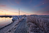 Winter scene in the Norfolk Broads near Ludham Bridge, Norfolk, United Kingdom, Europe