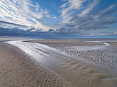 Low tide on a summer evening at Holkham Bay, Norfolk, England, United Kingdom, Europe
