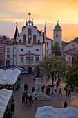 City Hall at sunset, Market Square, Old Town, Rzeszow, Poland, Europe
