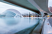 The Hemsiferic in the City of Arts and Sciences (Ciudad de las Artes y las Ciencias) in Valencia, Spain, Europe