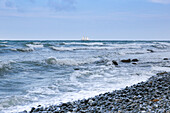 View over Baltic Sea to sailing ship on the horizon, Mons Klint, Klintholm, Mon island, Denmark