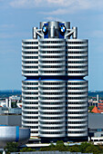 View from the Olympic Hill to the BMW Tower, Munich, Upper Bavaria, Bavaria, Germany