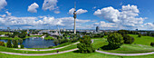 View from the Olympic Hill towards the Olympic tower and BMW Tower, Allianz arena and Froettmaniger Schuttberg in the background, Munich, Upper Bavaria, Bavaria, Germany