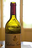Empty bottle of bordeaux wine