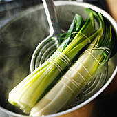 Close-up of tied leeks in pot