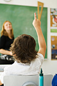 Elementary student raising hand in class, rear view