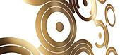 Pop art design of gold circle on white background