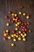 Directly above shot of cherry tomatoes on wooden table