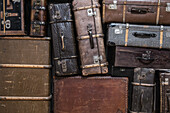 Full frame shot of old suitcases