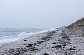 Tranquil view of Baltic Sea against overcast sky, Prerow, Germany
