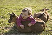 Baby girl lying on goat kid