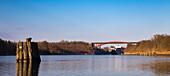 Tanker on Kiel canal, Levensauer bridge, Kiel, Rendsburg-Eckernfoerde, Schleswig-Holstein, Germany
